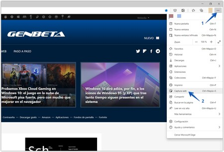 Accessing the web capture option in Microsoft Edge