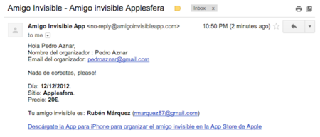 Amigo Invisible App iOS email