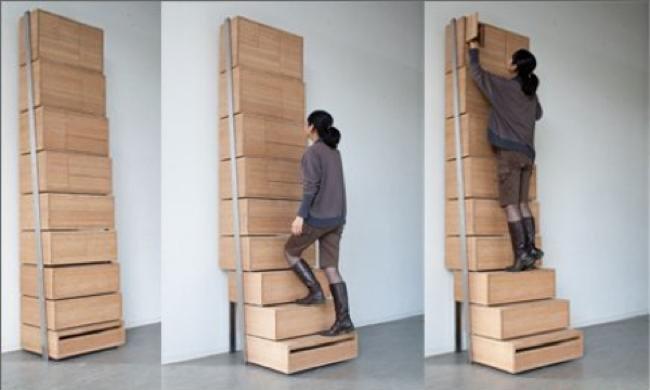Una buena idea cajonera y escalera for Cajoneras de madera para cocina
