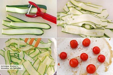 Falsos pappardelle de calabacín con tomates salteados y queso de cabra