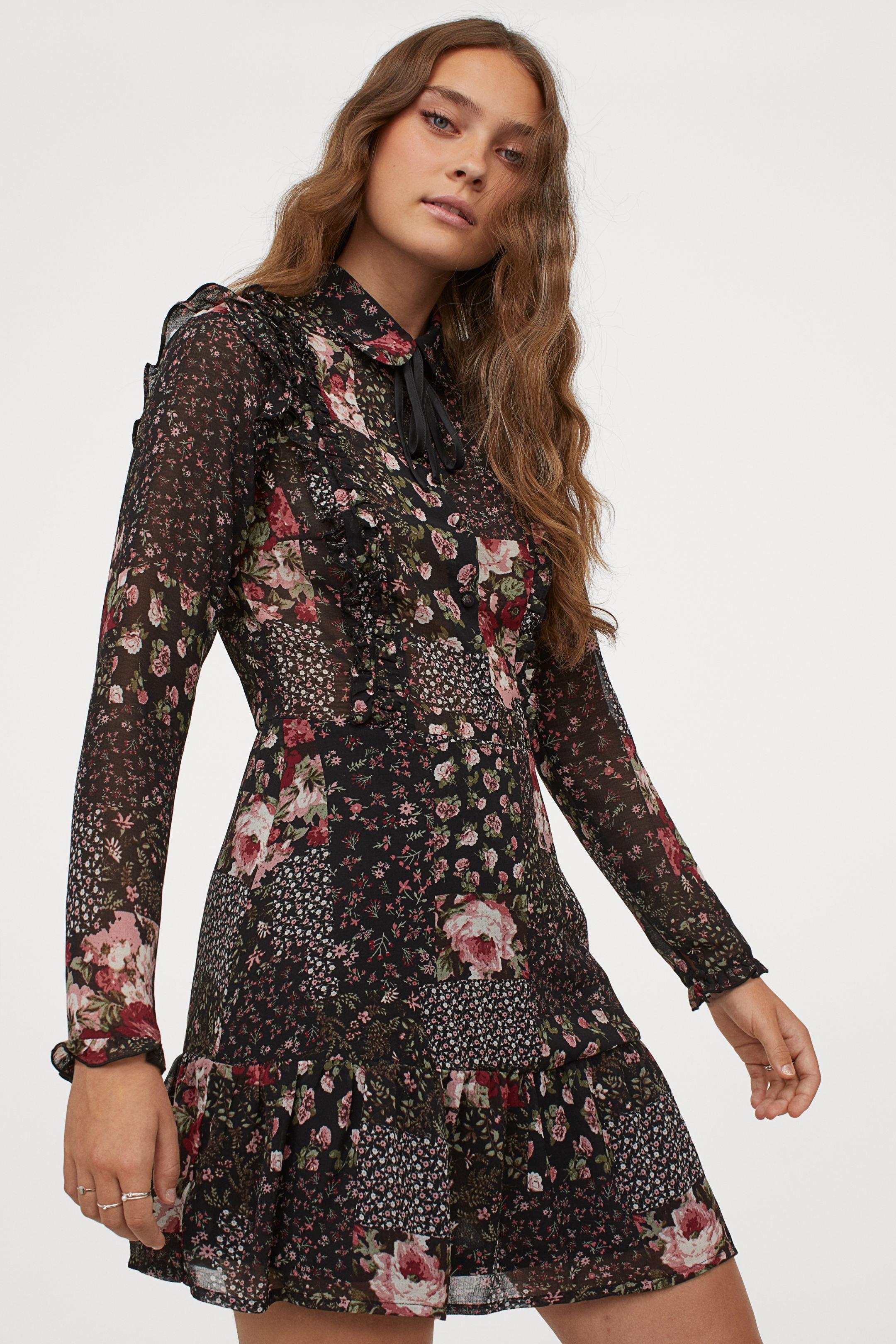 Vestido de gasa de estampado de flores
