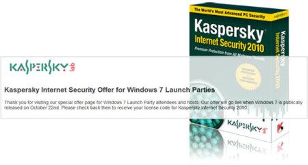 Kaspersky también regalará su Internet Security el 22 de Octubre (pero sólo a fiestas Windows 7)