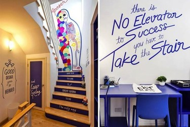 Una buena idea: escaleras con mensajes motivadores en la oficina