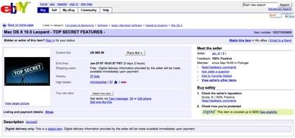 Increíble pero cierto: Alguien pretende vender los secretos de Leopard en eBay