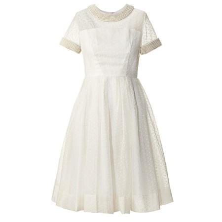 vestido de organza y perlas de Orla Kiely