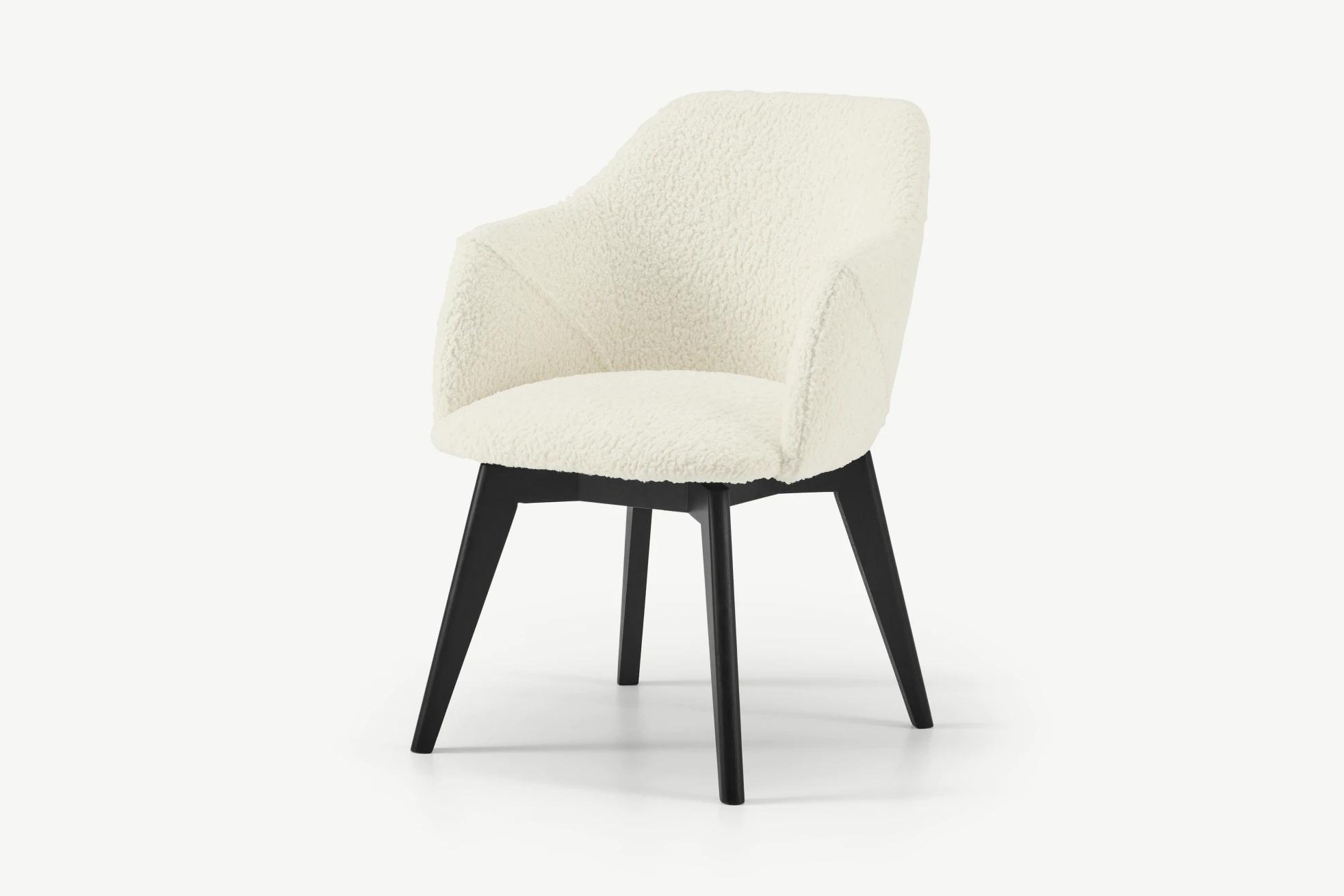 Lule silla de oficina, piel de oveja sintética con patas negras