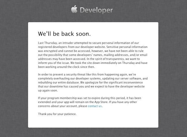 Web desarrolladores Apple atacada