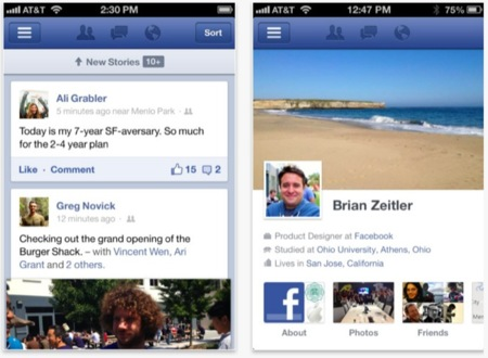 Facebook lanza una nueva versión de su cliente para iOS