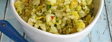 Ensalada de jícama y piña con chile de árbol. Receta saludable