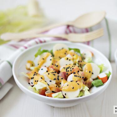 Receta de ensalada de palmito, surimi y vinagreta de papaya