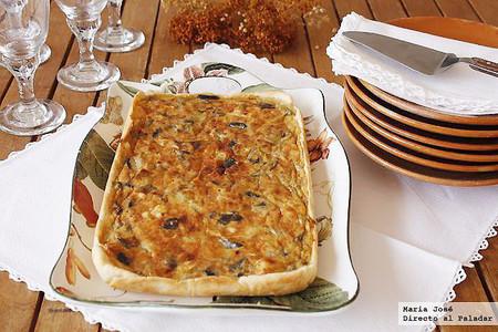 Tarta de berenjena y queso de cabra, receta