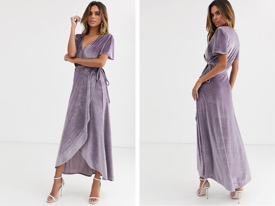 Vestido midi lila de terciopelo con diseño cruzado de PrettyLittleThing
