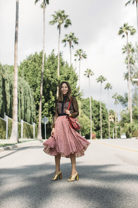 Aimee Song Of Style Gucci Resort Lace Dress Gucci Crossover Metallic Sandals Gucci Red Bag