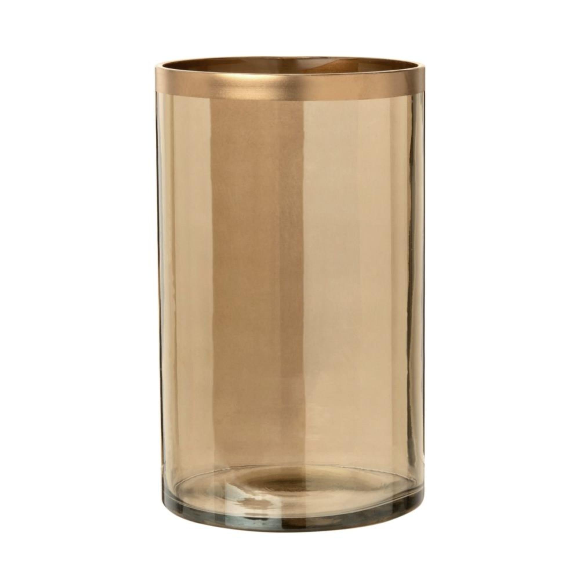 Jarrón de cristal ámbar y dorado