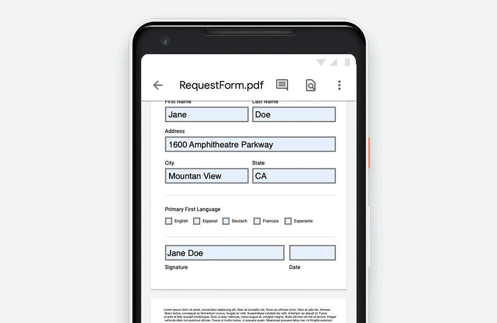 Google Drive para Android ya permite rellenar formularios PDF