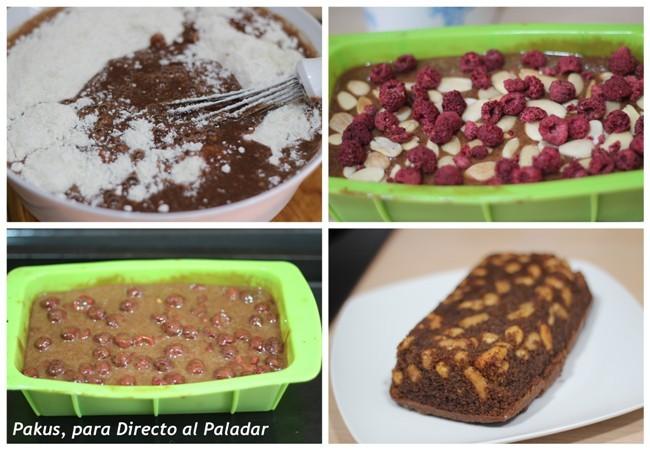 pastel de chocolate con almendras y frambuesas paso a paso