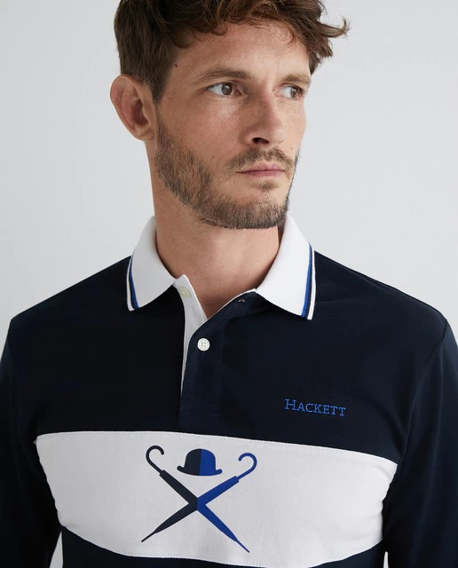 Polo de hombre classic fit manga larga con logo en el pecho azul