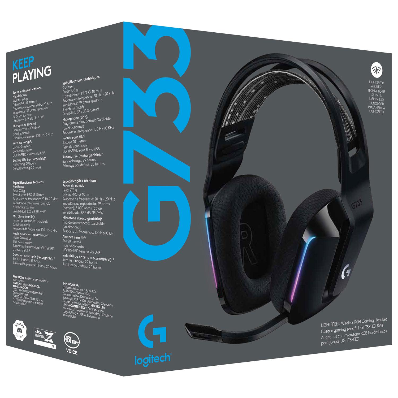 Logitech G733 Lightspeed - Audífonos RGB inalámbricos con micrófono para juegos - Negro