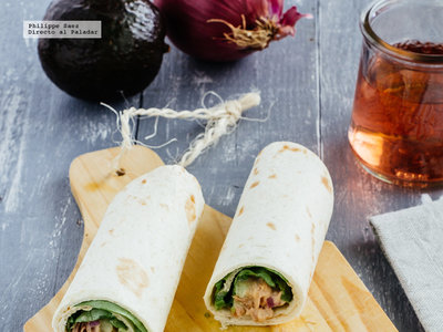 Burritos de atún picante y aguacate. Receta fácil y saludable