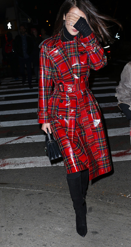 Bella Hadid Wearing A Laminated Tartan Trench In New York