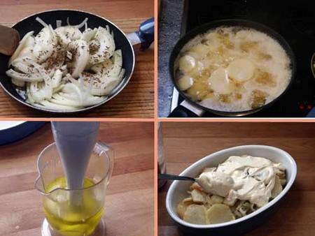 Elaboración de patatas al horno con alioli