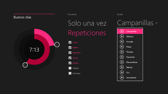 Alarmas de Windows 8.1