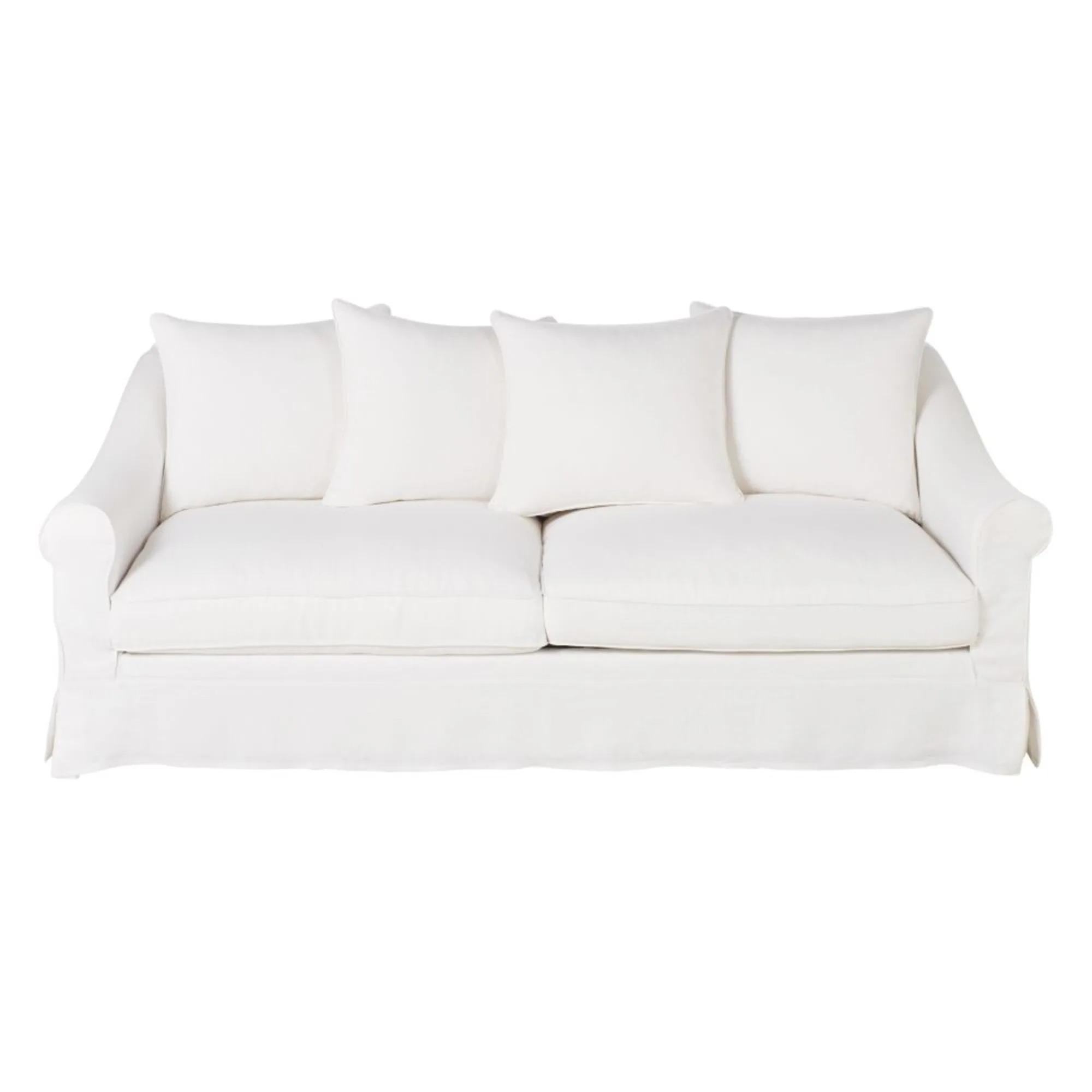 JOANNE.- Sofá de 4/5 plazas de lino blanco