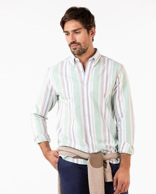Camisa Oxford de hombre regular rayas multicolor verde
