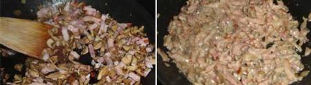Preparación de los Paccheris rellenos de setas y bacón