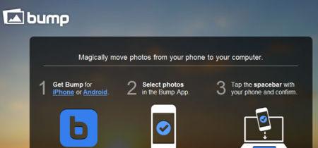 Bu.mp también permite compartir imágenes de tu móvil chocando con tu ordenador