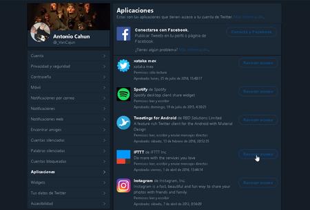 Twitter Revocar Acceso Aplicaciones
