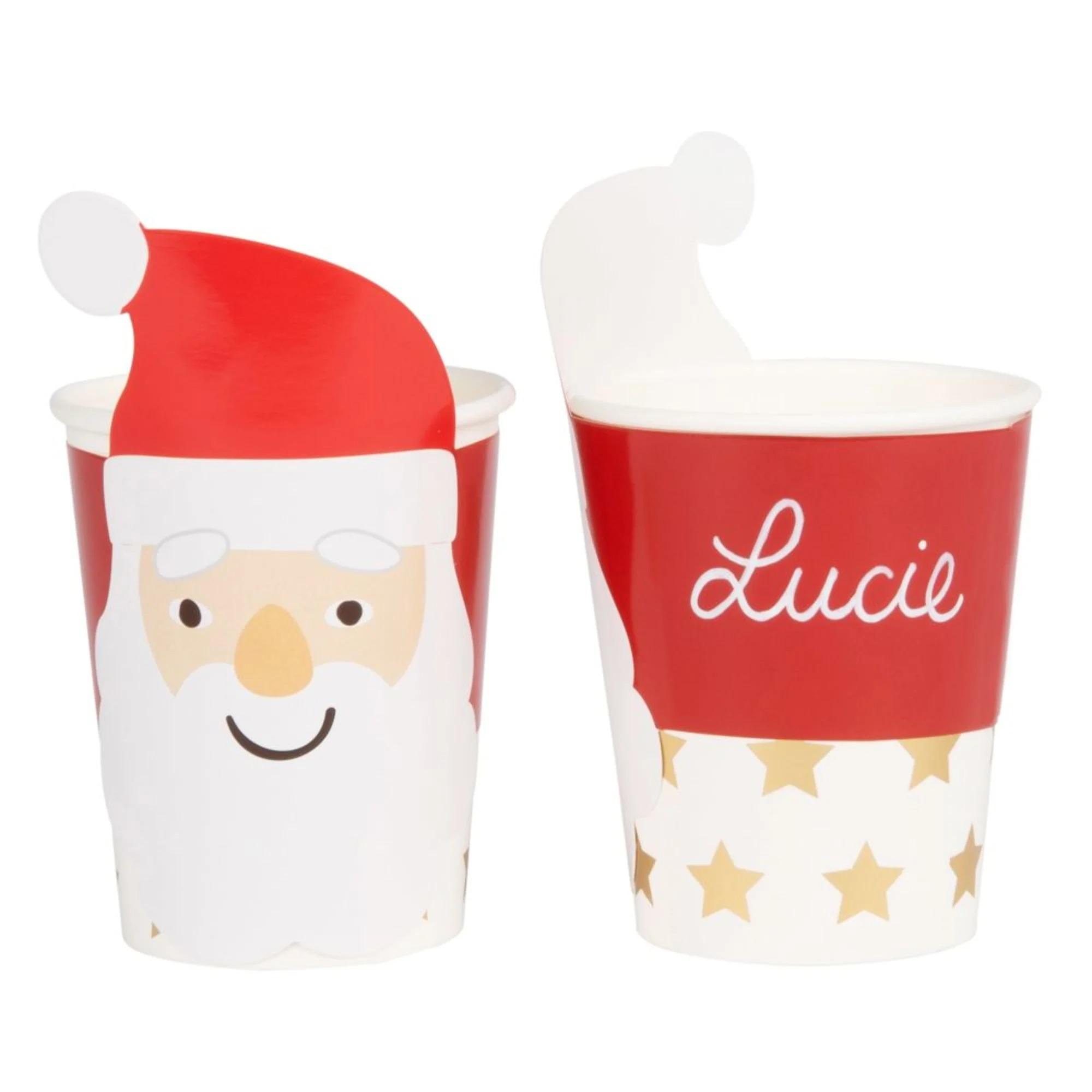 Vasos Papá Noel de cartón rojo y blanco (x8) - Lote de 3