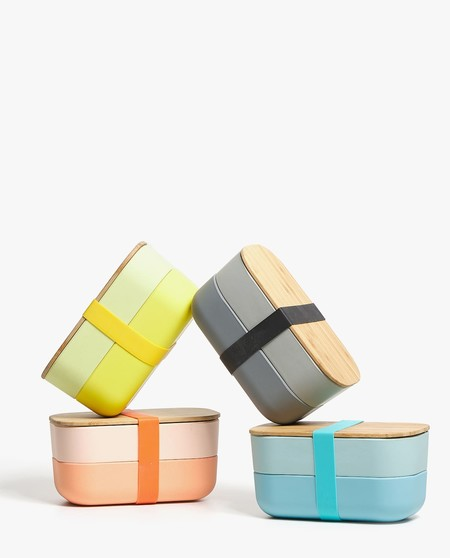para almacenar Alimentos Set de 3 Dise/ño Flores Tupperware de Bambu