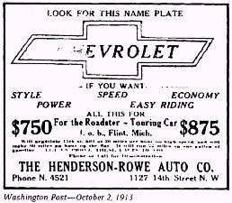 Anuncio Chevrolet - 1913