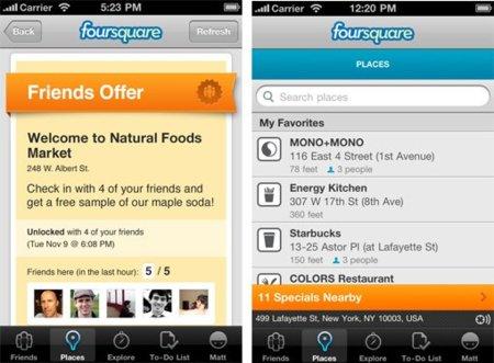 nuevos specials de foursquare