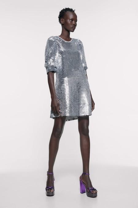 Vestido Plateado Zara 7