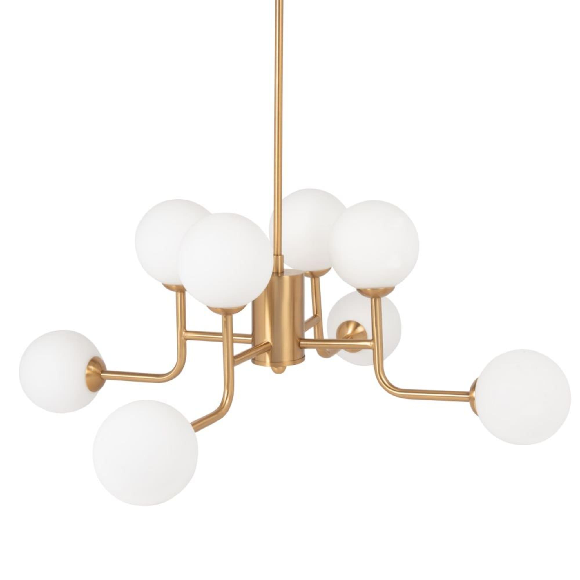Lámpara de techo de metal dorado con 8 bolas de cristal blanco.