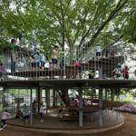 Precioso espacio diseñado para niños entorno a un viejo árbol