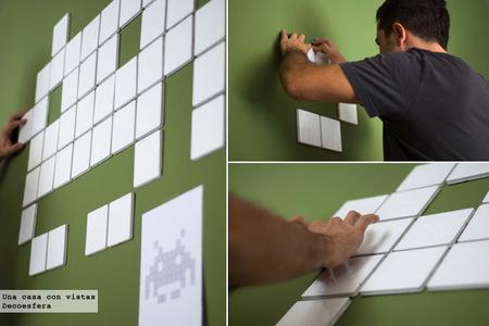 Colocando invader con azulejos