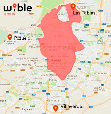 Wible: zonas de actuación en Madrid