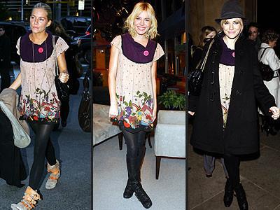 A Sienna Miller le encanta su mini vestido