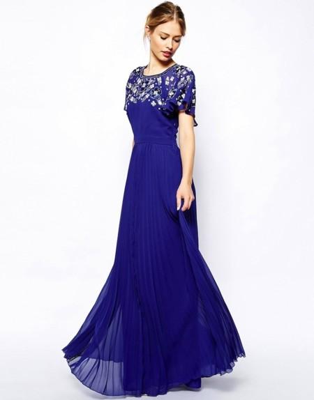 vestido largo azul klein asos