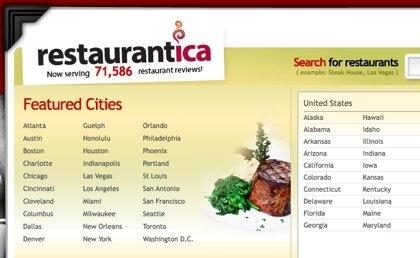 Restaurántica, reseñas de restaurantes en USA y Canadá