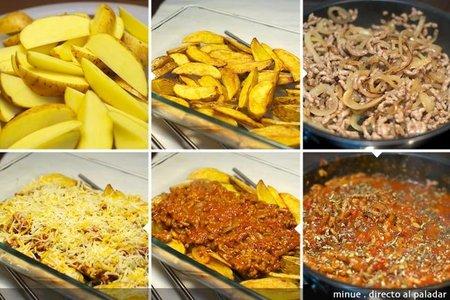 Patatas a la boloñesa - elaboración