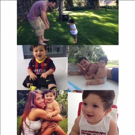 El pequeño Thiago dando sus primeros pasos y Messi con la baba colgando