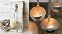 Una buena idea: viejos cazos como candeleros