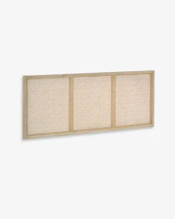 Cabecero Rexit madera maciza y chapa mindi con ratán 163 x 65 cm