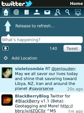 Twitter para BlackBerry 1.1 lanzado en fase beta