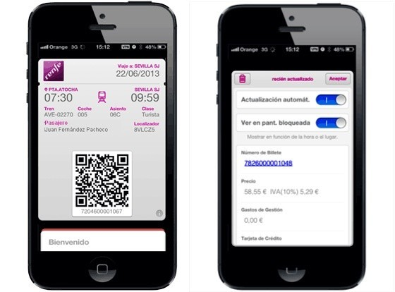 renfe passbook iphone