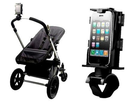 Un soporte para el smartphone en la silla del bebé